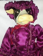 "Porcelain Head Hands Feet w/ Plush Body 20"" COW IN DRESS Doll Real Eyelashes #'d"