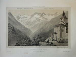 Victor PETIT (1817-1871) LITHO VUE BAGNERES DE LUCHON PYRENEES OCCITANIE 1860 r