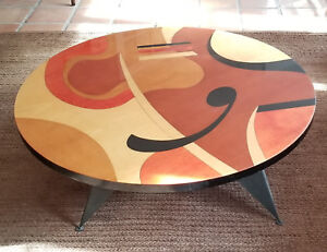 """RARE MODERNIST SIGNED BENJAMIN LE ABSTRACT WOOD INLAY PAINTED COFFEE TABLE 48"""""""