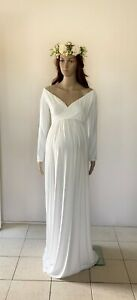Milk White Off Shoulder Jersey Maternity Dress Gown Photography Prop Pregnant