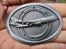 Vtg UNITED AIRLINES Belt Buckle 1986 Aircraft Maintenance CREW Airplane RARE VG+