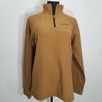Prana Women Pullover Sweater Size S Mustard Fleece 1/4 Zip Embroidered Spell Out