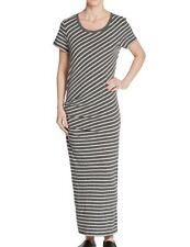 JAMES PERSE Charcoal Shirred Side Stripe Tucked Tee Maxi Dress Sz 3 L Large NWT