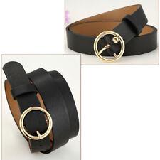 Classic beauty women gift. lady PU leather Gold Round Metal Circle Waist Belts