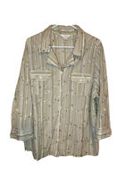 CJ BANKS 2X Green/brown/White Floral Embroidered Button Down Shirt. EUC.