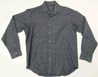 Bugatchi Uomo Long Sleeve Dress Button Shirt Mens Sz Large black Paisley