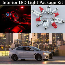 6PCS Bulbs Xenon Red LED Interior Car Lights Package kit Fit 2008-2015 Lancer J1