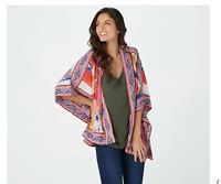 Tolani Collection Regular Small Printed Open Front Woven Kimono Abstract Red