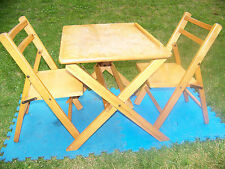 Solid Wood Child's Table & Chairs  2 Kid's Chairs Natural Wood SOLID HEAVY DUTY