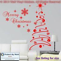 Christmas Tree Sticker Set / Modern Snow Flakes  Stars - Vinyl Wall Art Decal sm