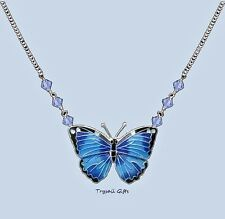 Bamboo Jewelry Blue Morpho BUTTERFLY Cloisonne NECKLACE Enamel STERLING - Boxed