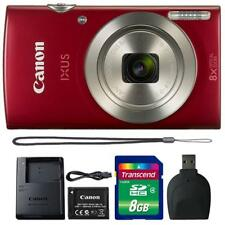 Canon IXUS 185 / ELPH 180 20MP Digital Camera Red and 8GB Accessory Kit