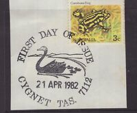 Tasmania nice CYGNET pictorial 1st day of issue postmark on piece