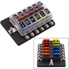 12 Way Car Van Boat Circuit Standard Blade Fuse Box Block Holder With LED Light