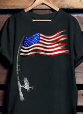 Fishing US Flag Black Men T-Shirt / Ladies T-Shirt
