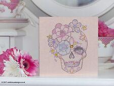 Peony and Rose Sugar Skull Tattoo Luxury Handmade Blank Birthday Card