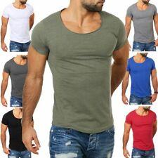 Früchtl Herren T-Shirt tiefer Rundhals Ausschnitt einfarbig slimfit Vintage Look