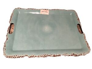 TOMMY BAHAMA Turquoise MELAMINE Serving PLATTER TRAY Crackle Rustic 2 Handle XL