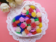 20PCS 12MM Fashion  AB Dither Multicolor Flatback Resin Rose Applique B01