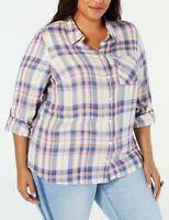 Style&co. Women Plus Blitz Plaid Shirt Roll Tab Sleeve Top NWT Size 3X