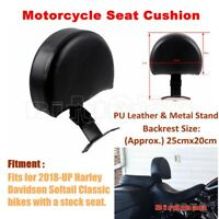 Black Motorcycle Driver Backrest Seat Cushion For Harley Davidson Softail 2018+