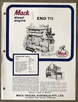 1972 Mack Thermodyne Diesel Engine END 711 original Australian sales brochure