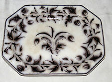 """Antique 13.1/2"""" x 10"""" Oval Stoneware Platter """"brought from Germany in 1800"""""""
