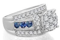 10K WHITE GOLD 3.26 CARAT WOMEN DIAMOND SAPPHIRE ENGAGEMENT RING WEDDING BRIDAL