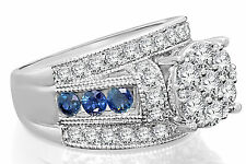 10K WHITE GOLD 3.26 CARAT WOMEN DIAMOND SAPPHIRE ENGAGEMENT RING WEDDING BRIDAL