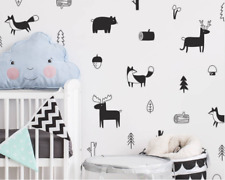 Nordic Style Woodland Wall Decal Forest Tree And Elk Deer Vinyl Art Stickers