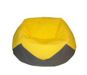 GIANT QUILTED YELLOW & GREY BEANBAG INDOOR & OUTDOOR USE