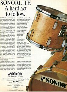 1984 Print Ad of Sonor Sonorlite Drum Kit