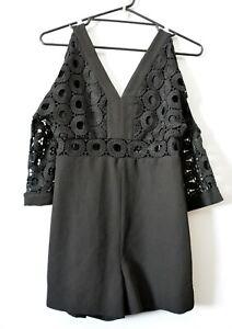 Bardot Exclusive Playsuit Size 8 Black Lace Trim Romper