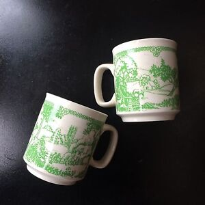 Vintage WP Made In England Coffee Mug Cup White Green Ceramic