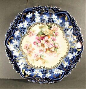 MINT RS PRUSSIA STEEPLE MARK COBALT BLUE & GILDING SHALLOW BOWL OPENWORK EDGE