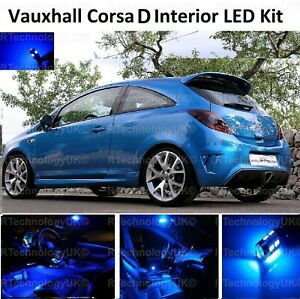 PREMIUM BLUE for VAUXHALL CORSA D 2006-2014 FULL INTERIOR LED KIT LIGHTS VXR
