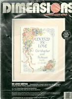 In Love United Counted Cross Stitch Kit Dimensions 3727 Wedding new/opened