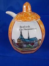 Alter Andenken Senftopf ROSTOCK Marienkirche Porzellan Souvenir