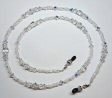 White Wedding Day Austrian Crystal Bead Mix Eyeglass Chain
