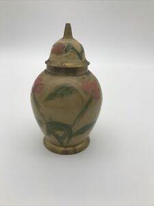 Small Brass Enamel Vase With Lid  Urn Malta Beige Pink Floral