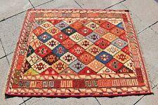 Genuine Wool Soumak Kilim 2'7x3'3 ft. Caucasian Wonderful Soumak Woven Kilim Rug