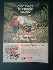 1971 Smokey the Bear Play Sets Tonka Jeep Truck Toy Promo Print Art AD