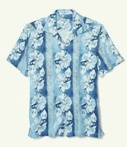 Tommy Bahama Hibiscus Heights BT 100% Silk Camp Shirt Men 3XLB Scandia Blue NWT