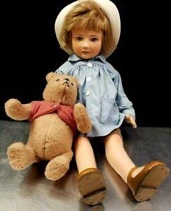 "R John Wright 18"" Christopher Robin & Winnie the Pooh RJW Felt Doll c. 1989 RARE"