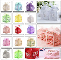50pcs Love Heart Bird Gift Box Laser Cut with Ribbon Favour Cake Candy Wedding