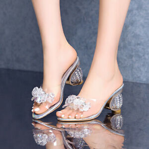 Women Clear Block Heels Slippers Sandals Summer Rhinestone Peep Toe Slip On Shoe