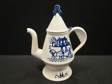 Vintage Metlox USA Provincial Blue Vernon Tall Coffee Tea Pot w/ Lid Horse Buggy