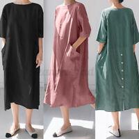 UK Women Summer Short Sleeve Midi Sundress Split Hem Kaftan Shift Dress Pullover