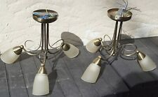 2 off Poole Lighting Ltd Burnished Brass + Ribbed White Glass Ceiling Lights