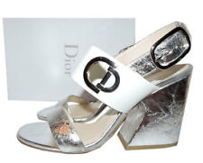 $995 Christian Dior Open Toe Silver Leather Ankle Sandals Pumps Heels Shoes 39